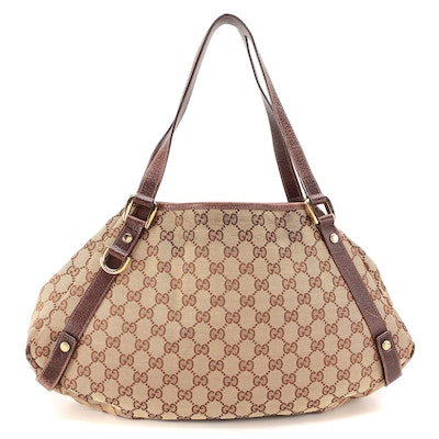 Gucci Abbey Shoulder Bag in GG Canvas and Brown Leather