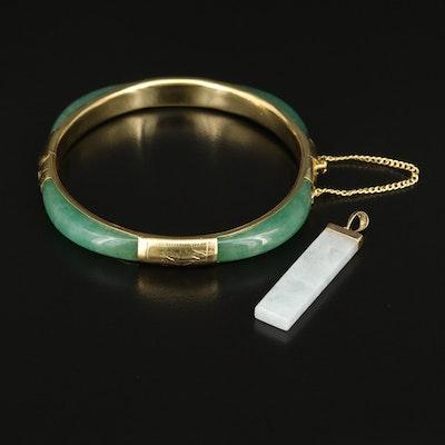 14K Jadeite Pendant with Aventurine Hinged Bangle