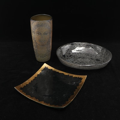 Studio Pottery Vase with Incised Portrait and Art Glass Bowls, Late 20th Century