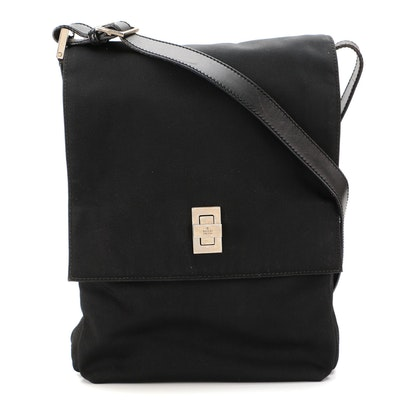Gucci Flap Front Shoulder Bag in Black Nylon and Leather Trim