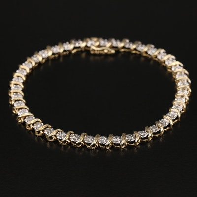 "10K Diamond Illusion Set ""S"" Link Bracelet"