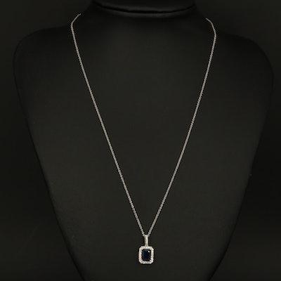 EFFY 14K WHITE GOLD DIAMOND, NATURAL SAPPHIRE PENDANT