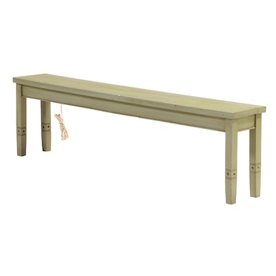 American Primitive Style Green-Painted Bench with Under-Seat Light, 20th Century