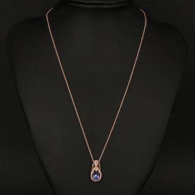 EFFY 14K ROSE GOLD DIAMOND, ESPRESSO DIAMOND, TANZANITE PENDANT