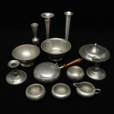 Stieff Williamsburg Restoration, and Other Pewter Tableware, Mid to Late 20th C
