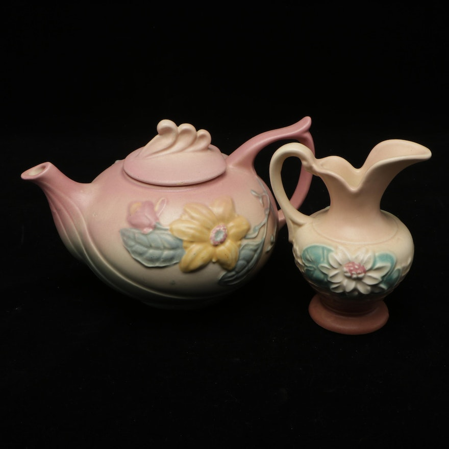 """Hull """"Magnolia"""" Ceramic Teapot and """"Waterlily"""" Ewer, Mid-20th Century"""