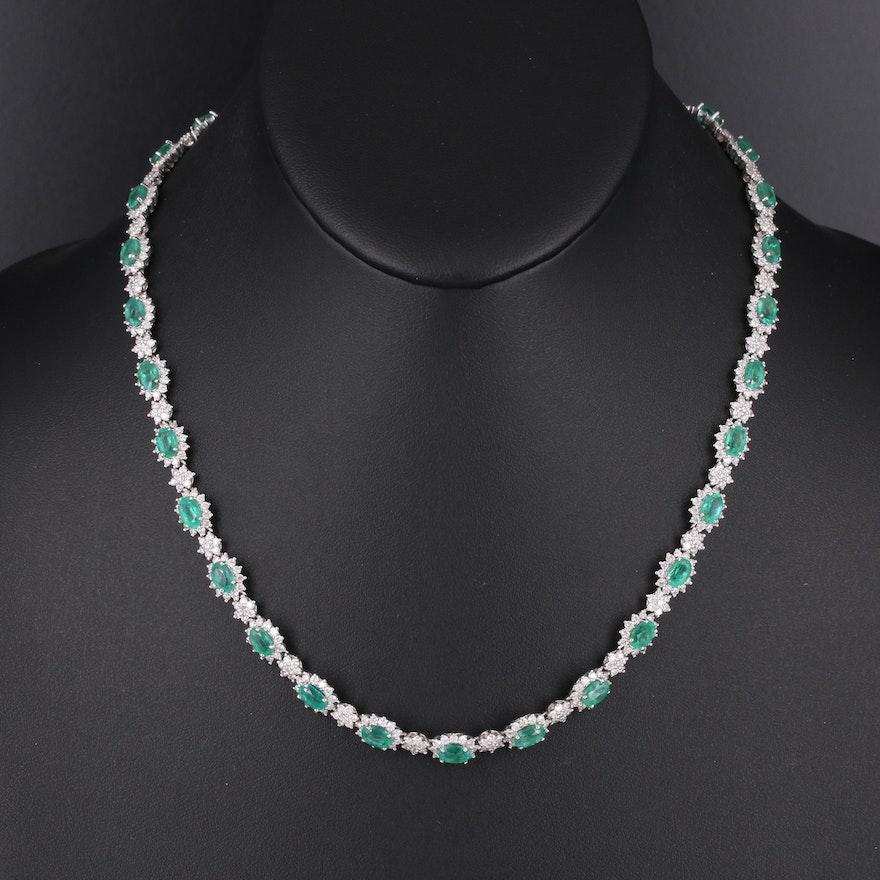 14K Emerald and 9.08 CTW Diamond Necklace