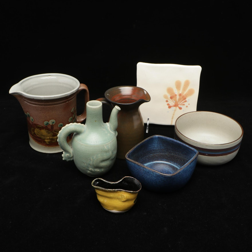 Studio Pottery Pitcher with Other Ceramic Bowls and Pitchers