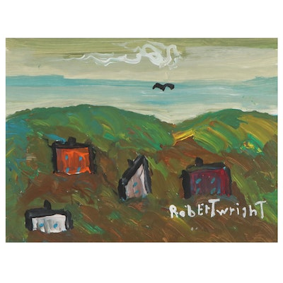 Robert Wright Folk Art Acrylic Painting of Landscape With Houses
