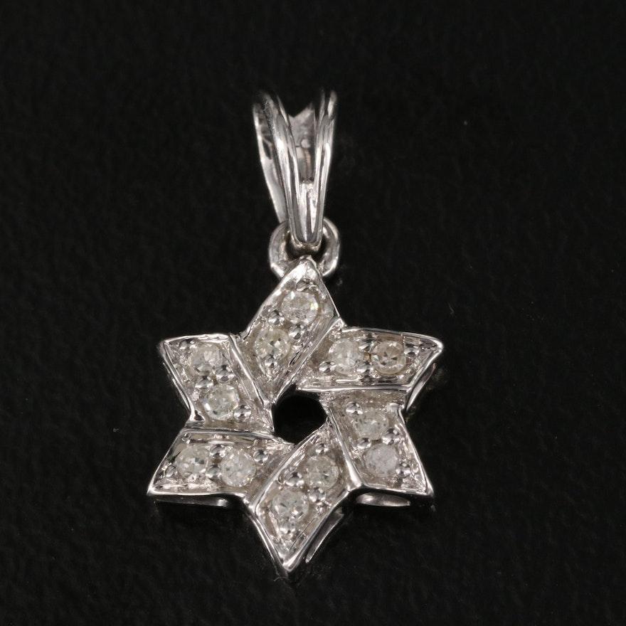 Sterling Diamond Star of David Pendant