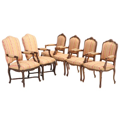 Six Louis XV Style Carved Beech Custom-Upholstered Armchairs