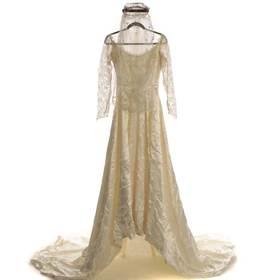 Belle Bride Satin and Lace Wedding Gown with Shirley Lipton Layered Veil and Box