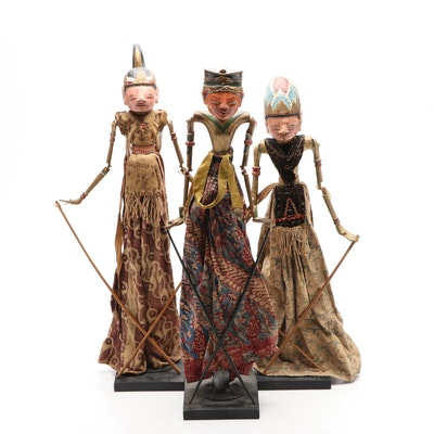 Indonesian Hand-Carved Wooden Wayang Golek Puppets