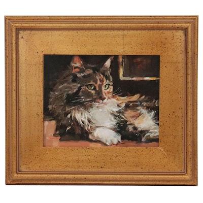 """Adam Deda Oil Painting """"Rembrandt's Cat,"""" 2021"""
