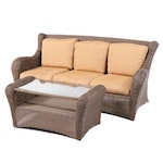 Contemporary Woven Patio Sofa with Glass Topped Coffee Table