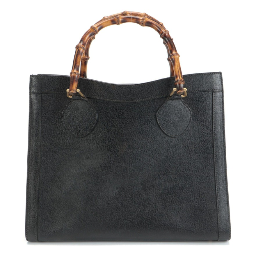 Gucci Diana Bamboo Handled Tote in Black Grained Leather