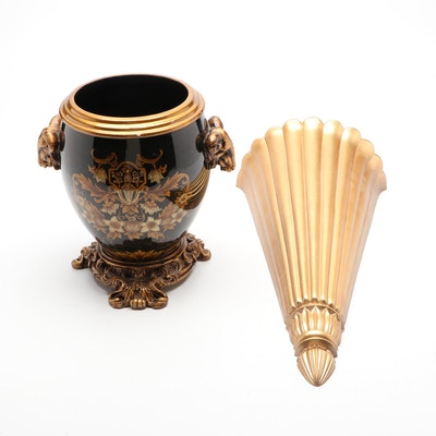 Neoclassical Style Vase with Gold Tone Wall Pocket
