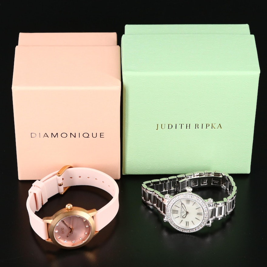 """Judith Ripka """"Summit"""" and Diamonique Pink Dial and Band Wristwatches"""