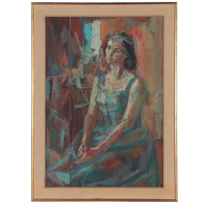 """Anthony Toney Oil Painting """"Seated,"""" 1965"""