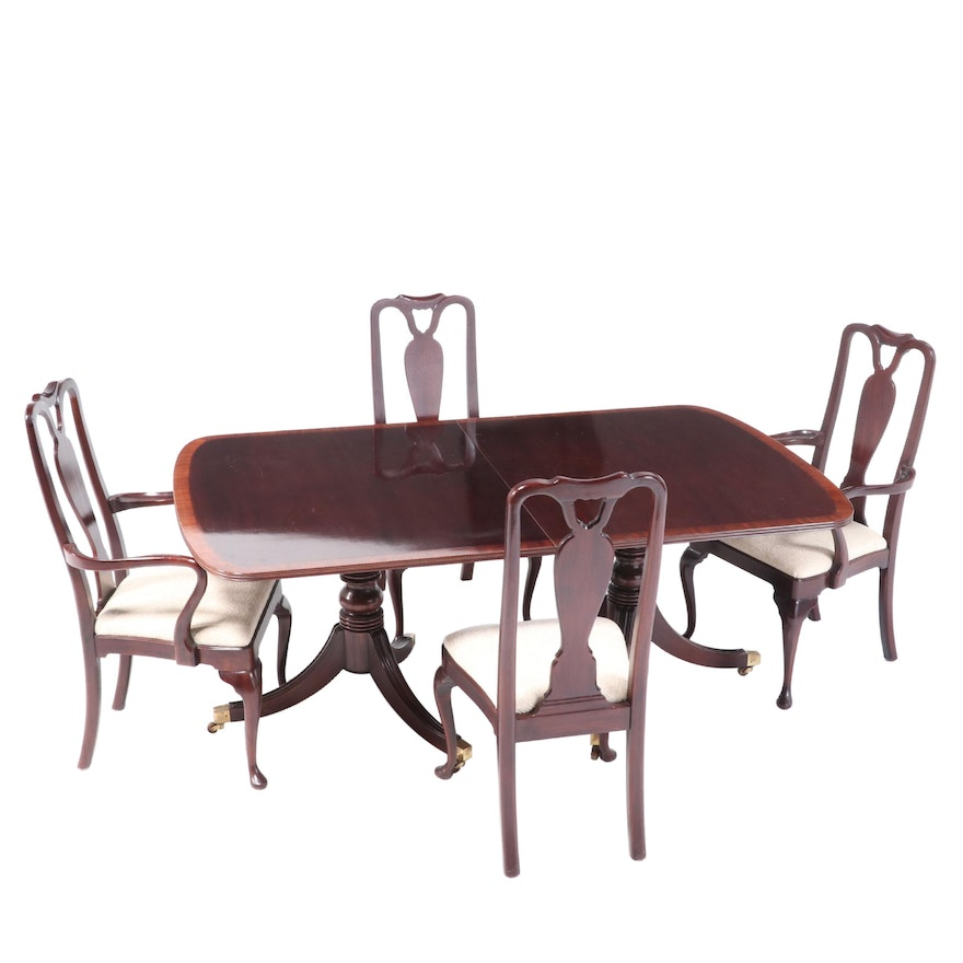 Mahogany Double-Pedestal Dining Table with Henredon Queen Anne Style Chairs