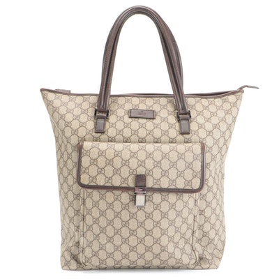 Gucci Front Pocket Tote in GG Supreme Canvas with Brown Leather Trim