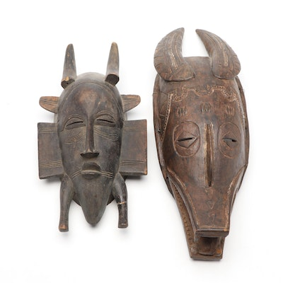 Senufo Inspired and West African Style Hand-Carved Wood Masks