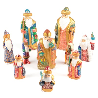 Russian Wooden Carved and Hand-Painted Santa Figurines