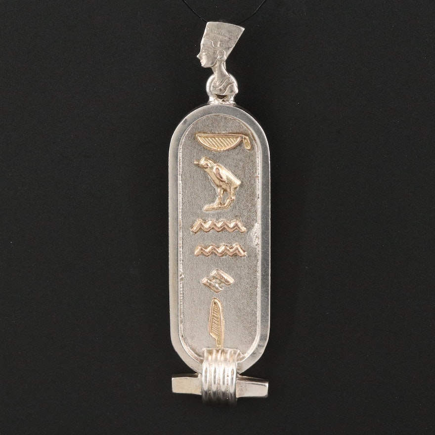 Sterling Cartouche Pendant with Hieroglyphics