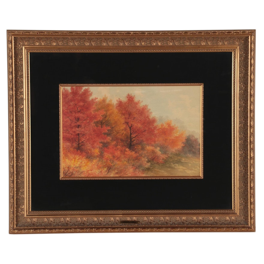 """Charles Wesley Sanderson Watercolor Painting, """"Autumn Glory,"""" Late 19th Century"""