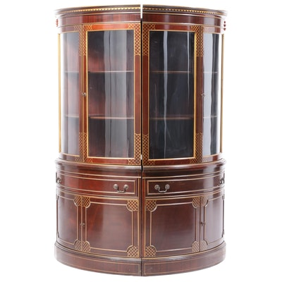 Pair of Parcel-Gilt and Mahogany Bowfront Display Cabinets