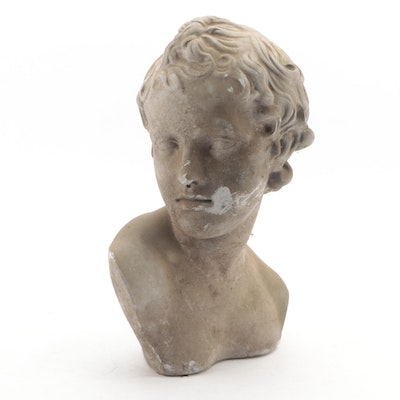 Classical Style Cast Stone Male Bust, Late 20th Century