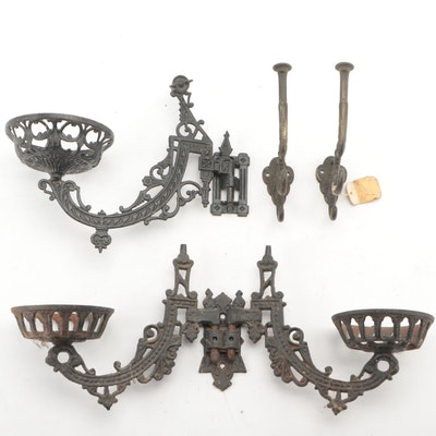 Gothic Revival Style Cast Iron Wall Sconces and Wall Hooks