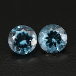 Matched Pair of Loose 7.25 CTW Swiss Blue Round Faceted Topaz