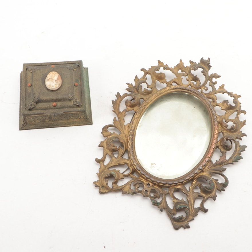Victorian Gilt Metal Beveled Glass Mirror and Vanity Box with Shell Cameo Insert