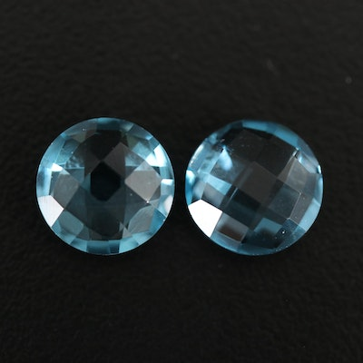 Matched Pair of Loose 8.13 CTW Swiss Blue Round Checkerboard Top Topaz