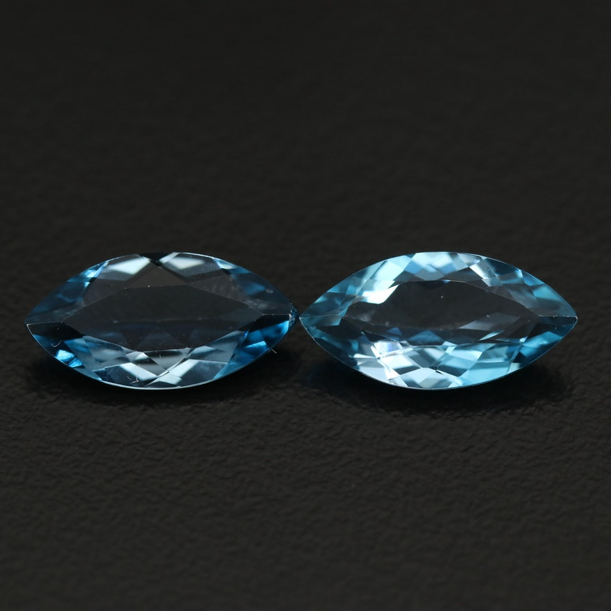 Matched Pair of Loose 5.98 CTW Swiss Blue Marquise Faceted Topaz