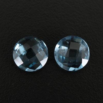 Matched Pair of Loose 7.82 CTW London Blue Checkerboard Top Topaz