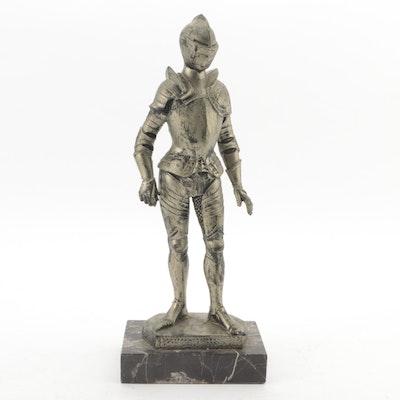 Italian Cast Resin Knight Figurine on Marble Base, Late 20th Century