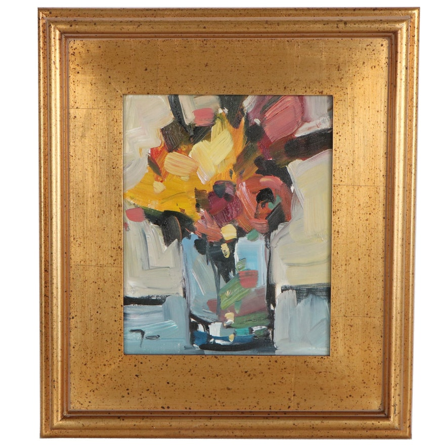 "Jose Trujillo Floral Still Life Oil Painting ""Tabletop Flowers,"" 2019"