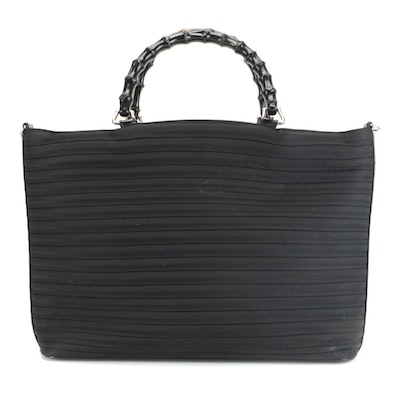 Gucci Coil Tote in Black Nylon with Glazed Leather Trim and Bamboo Handles