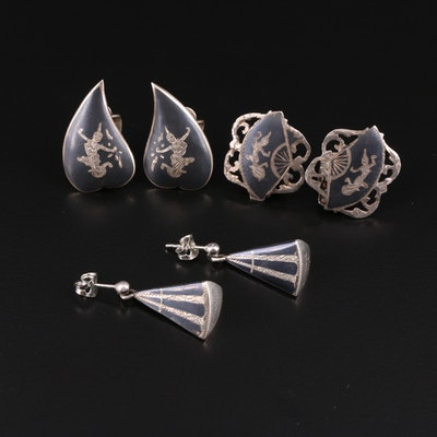 Thai Sterling Niello Button and Drop Earrings