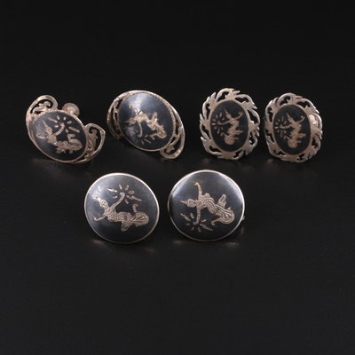 Siam Sterling Niello Button Earrings