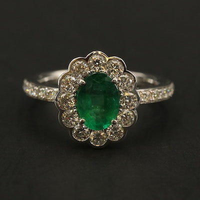 14K WHITE GOLD DIAMOND, NATURAL EMERALD RING (WITH 8X6 CENTER SIZE)