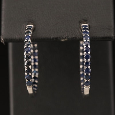 Sterling Sapphire Inside-Out Hoop Earrings