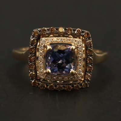 EFFY 14K YELLOW GOLD DIAMOND, ESPRESSO DIAMOND, TANZANITE RING