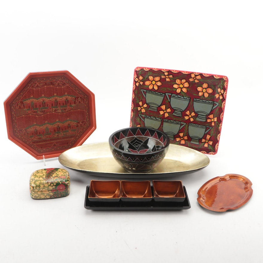 Hand-Painted Lacquerware Trays, Bowls, and Other Table Accessories