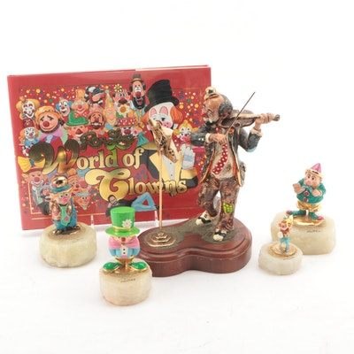 """Ron Lee Clown Figurines with """"Ron Lee's World of Clowns"""" Book"""