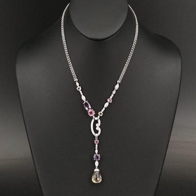 18K Citrine and Gemstone Asymmetrical Drop Necklace