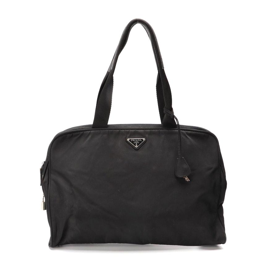 Prada Zip Satchel in Black Tessuto Nylon and Leather