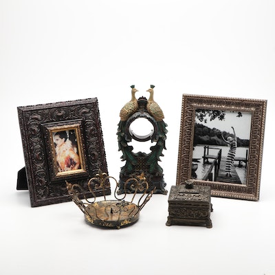 Decorative Boxes, Picture Frames and Peacock Pocket Watch Stand